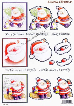 Santa & Penguin Christmas Window Foil Accents Die Cut 3d Decoupage Sheet From Craft UK Ltd